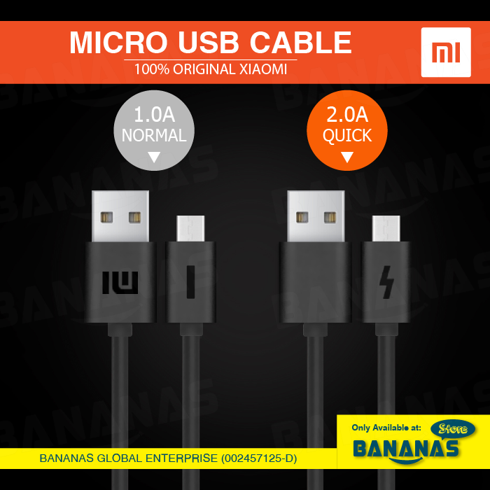 Xiaomi Original 1A / 2A Fast Charging Micro USB Data Sync Cable ( Buy 3 Free 1 ) - Bananas Store