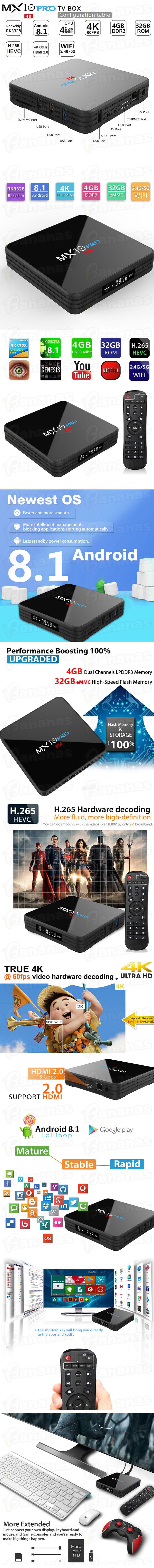 MX10 PRO Android 8 1 4K UHD TV Box - Quad Core 4GB Ram 32GB Storage WiFi  USB 3 0